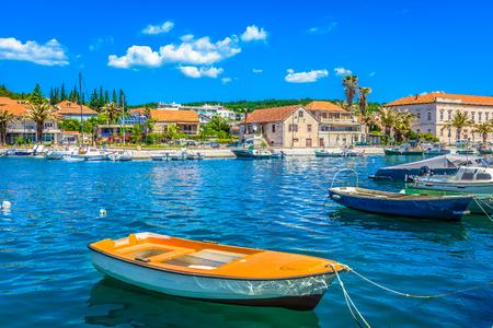 Seafront view at mediterranean town Starigrad, Island Hvar, Croatia summertime.