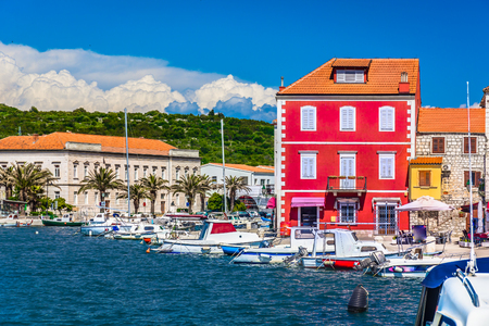 starigrad: Seafront view at croatian coastline in town Stari Grad, Dalmatia region.