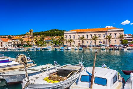 Waterfront view at bay in town Stari Grad, Island Hvar, Croatia. Stock Photo