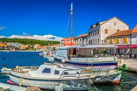 Seafront view at coastal town Stari Grad, Island Hvar, Croatia. Stock Photo