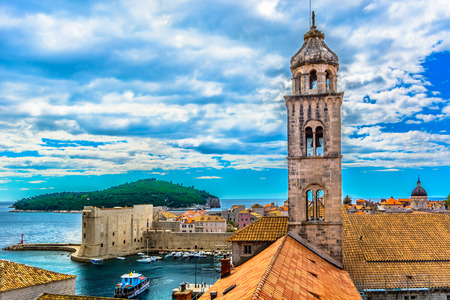 Aerial view on amazing scenery in old town Dubrovnik, Croatia, european travel destination.