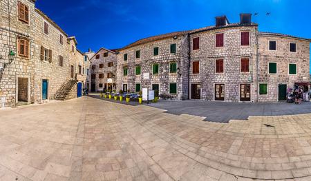 Marble historic colorful square in Dalmatia region, Croatia.