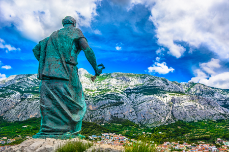 View at mountain Biokovo over Makarska town, Dalmatia region in Croatia.