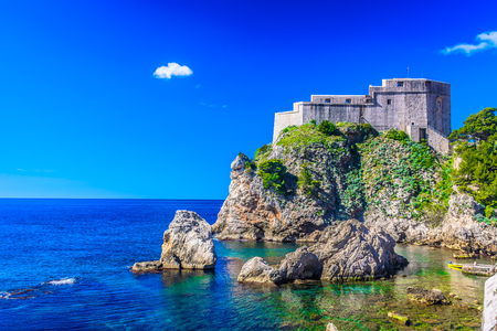 Amazing landscape with old fort in Dubrovnik Riviera scenery, Croatia. Stock Photo