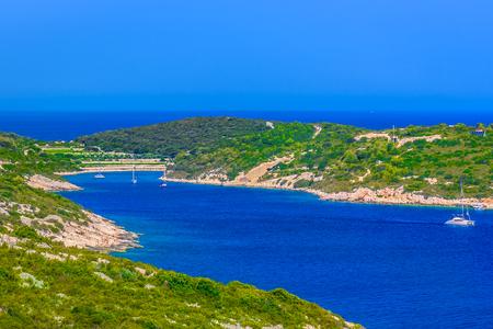 Aerial landscape of island Vis in summertime, Croatia scenery. Stock Photo