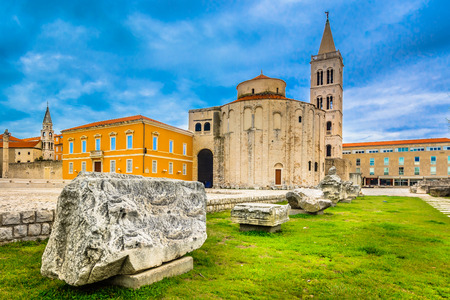 Scenic view at old roman architecture in town Zadar, Croatia.