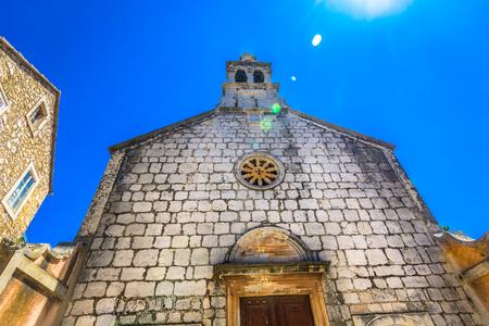 View at old stone architecture on Island Hvar, Dalmatia region in Croatia.