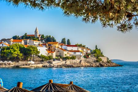 Scenic view at coastal town Primosten in Dalmatia region, Croatia.