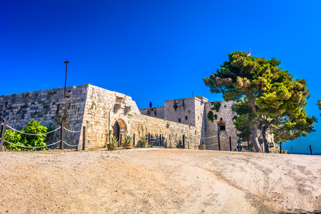 commander: View at historical St. Georges Fort on Island Vis, Croatia. Stock Photo