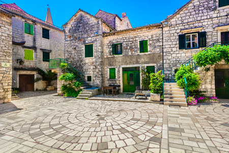 View at old square in Starigrad town in Croatia, Island Hvar.