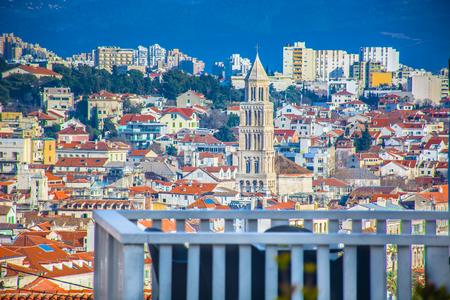 Aerial scenic view at UNESCO protected Split town, Croatia.