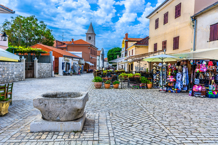 Scenic colorful view at Nin town in Croatia, Europe. Imagens