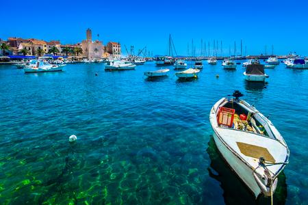 Mediterranean fisherman place Komiza on Island Vis, South of Croatia, european summer travel destination.