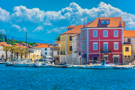 Waterfront colorful view at Starigrad town, Island Hvar. Stock Photo