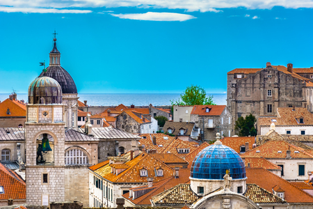 Aerial architectural view at Dubrovnik old town in Croatia, Europe.