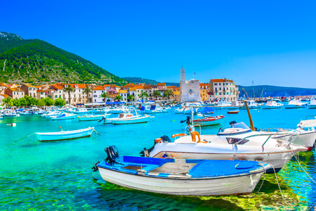 Seafront view at town Komiza in Croatia, Mediterranean. Foto de archivo