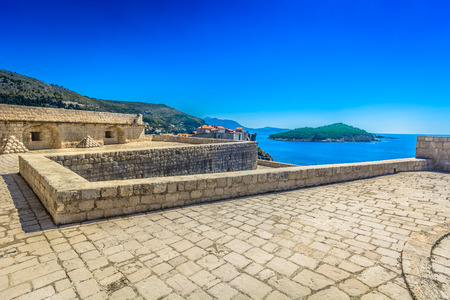 Scenic view from top of Dubrovnik fort, Croatia. Stock Photo