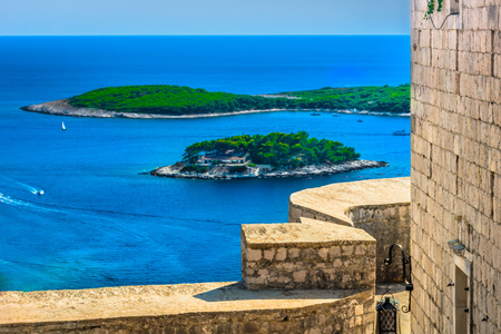 Aerial view from historic fort at Hvar seascape, Croatia.