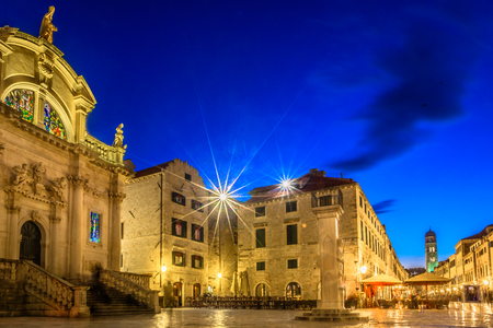 Evening marble view at historical landmarks in Dubrovnik city, Croatia. Stock Photo