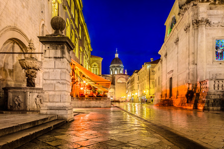 Night scenic view at Dubrovnik old streets in Croatia, Europe.
