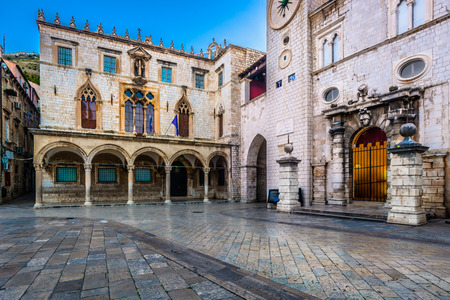 ragusa: View at historic square in city center of famous Dubrovnik town, Croatia Europe.