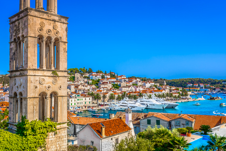 Aerial colorful mediterranean scenery in town Hvar, popular sightseeing place in Europe, Croatia. Banco de Imagens