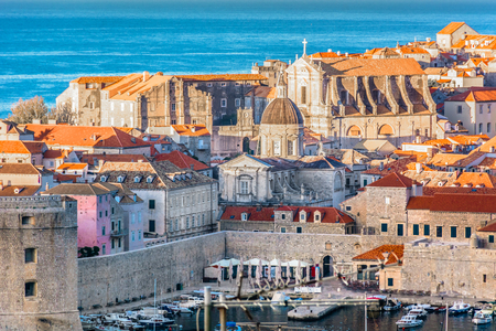 Aerial view at Dubrovnik old city center in Croatia, famous luxury travel resort.