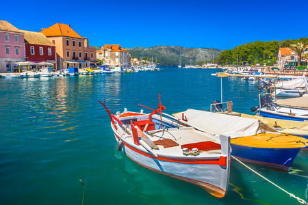 Mediterranean scenery at Starigrad town, Hvar Island, famous travel summer resort in Europe, Croatia. Stock Photo