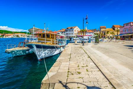 Mediterranean colorful promenade at Starigrad town, Hvar Island, famous travel resort in Europe, Croatia.