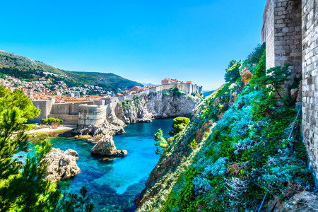 Amazing scenery in Dubrovnik old town, famous european travel place in Croatia, Mediterranean.