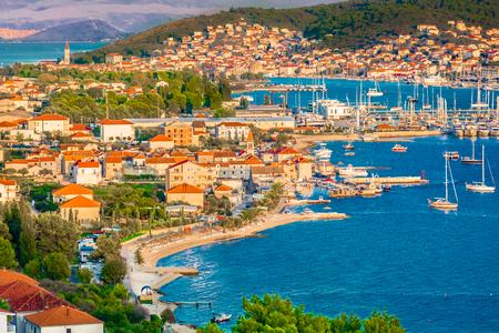 Aerial cityscape of town Trogir in Croatia, Mediterranean.