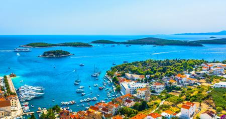 Amazing landscape over famous tourist destination Hvar town in Croatia, Europe.