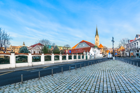 Picturesque scenic view at baroque architecture in city center of Zagreb, capital of Croatia, Europe.