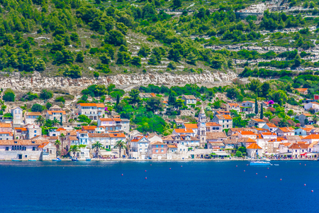 Seafront picturesque view at coastal town Vis in Croatia, popular summer travel destination.
