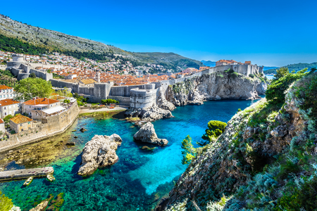 Aerial panoramic view at famous european travel destination, old town Dubrovnik in Croatia.
