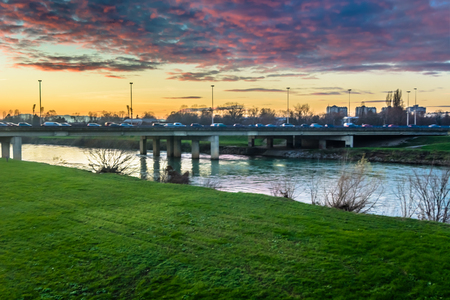 Sunset view at Sava River colorful scenery in Zagreb town, Croatia Europe.