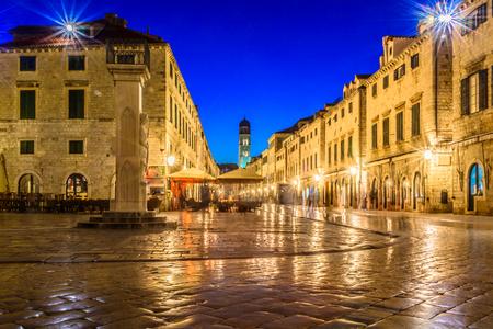 Evening view at Stradun famous street in Dubrovnik city, Croatia Europe. Reklamní fotografie