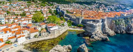 Aerial panorama of coastal town Dubrovnik in Southern Croatia, Europe.
