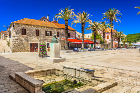 Scenic view at town square in ancient mediterranean place Starigrad on Island Hvar, Southern Croatia.
