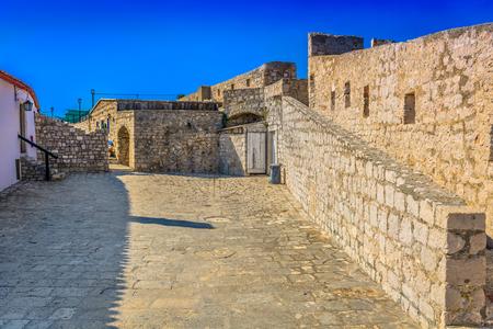 Scenic view at medieval fort above Hvar town, popular tourist sightseeing spot in Croatia, Mediterranean landmarks.