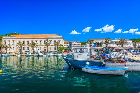 Seafront view at mediterranean town Starigrad  on Adriatic Sea, Island Hvar scenery.