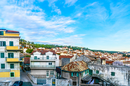Aerial view at old stone architecture in town Sibenik, travel places cityscape.