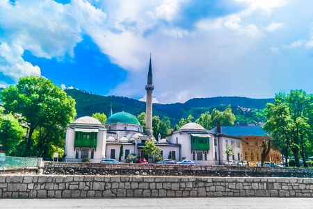 Scenic view at famous mosque in Sarajevo city, Bosnia and Herzegovina, Europe. Фото со стока