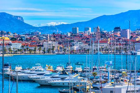 Aerial view at famous mediterranean scenery in Split city, Croatia Europe.