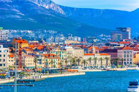 Scenic view at coastline in famous Split city, second largest place in Croatia, Dalmatia region.