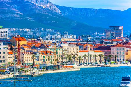 Scenic view at coastline in famous Split city, second largest place in Croatia, Dalmatia region.