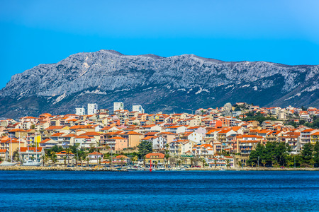 Seafront view at picturesque small town Podstrana in suburb of Split city, Croatia Mediterranean.