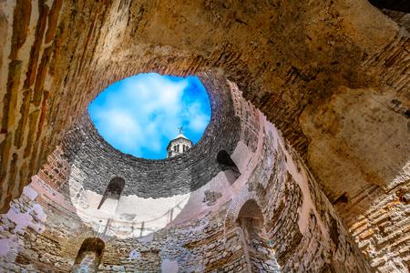 Scenic view at famous Vestibul landmark in Diocletian Palace, Croatia.