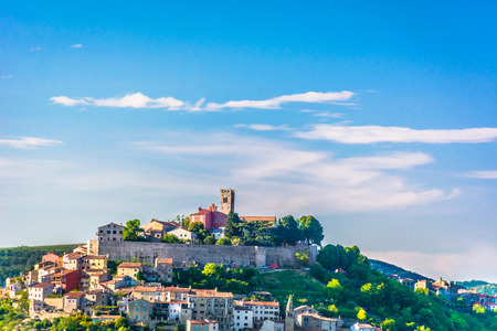 Scenic view at Motovun medieval town on hill in Istria region, Croatia.