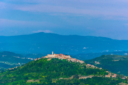 Aerial view at town Motovun on top of the hill, Istria region in Croatia.
